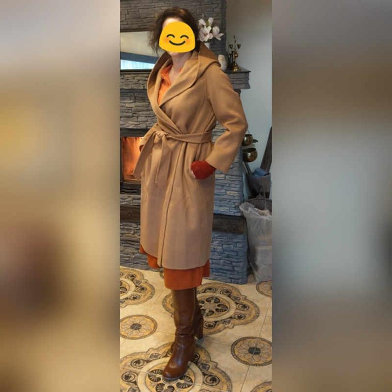 Beliarst 2019 Musim Gugur dan Musim Dingin Wol Murni Mantel Moman Casual Hooded Cardigan Buatan Tangan Kasmir Dua Sisi Jaket