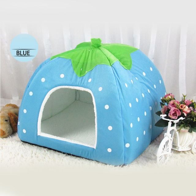 Pet Cat Dog House Sleeping Bag Foldable Soft Winter Leopard Strawberry Cave Pupply Cute Kennel Nest Dog Fleece Cat Bed