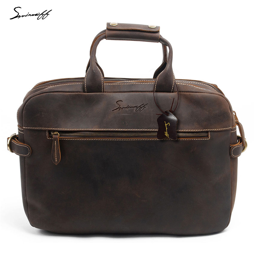 SMIRNOFF Men'S Leather Briefcases Men Vintage Messenger Bag Male Computer Laptop Crazy Horse Genuine Leather Shoulder Bags Male картридж t2 932xl для hp officejet 6100 6600 6700 7110 7610 голубой cn054ae