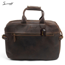 SMIRNOFF Men'S Leather Briefcases Men Vintage Messenger Bag Male Computer Laptop Crazy Horse Genuine Leather Shoulder Bags Male