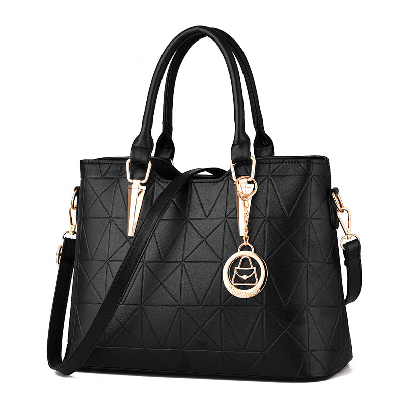 Occident Style Gorgeous Women Simple font b Handbag b font Embossed PU Leather Geometric Plaid Fashion