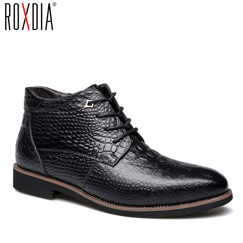 ROXDIA winter snow leather men boots warm fur ankle boot waterproof for father male shoes 39-44 RXM067