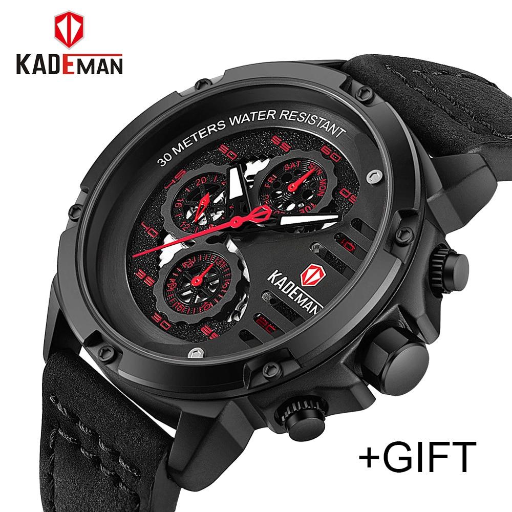 KADEMAN Mens Watches Top Brand Luxury Waterproof 24 Hour Date Quartz Watch Man Leather Sport Wrist Watch Men Waterproof Clock