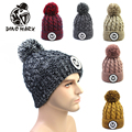 Hot new fashion women's Knitted thick Wool lining  Winter warm Hat Cap skin for unisex letter M & Caps 6 colors hood