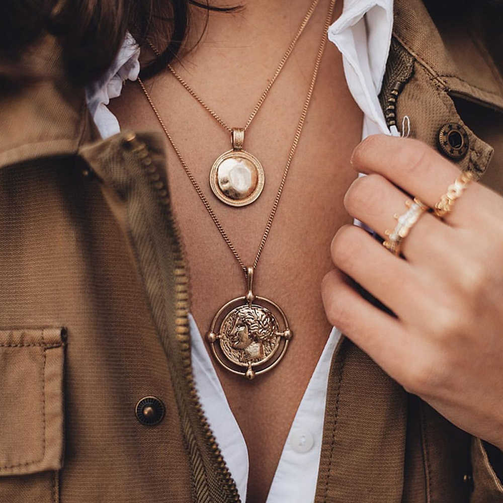Vintage Gold Color Carved Coin Necklace Figure Medal Long Chain Double Layered Necklace Pendant Women Choker Personalized Gifts