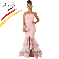 ArtSu Sexy Bustier Strapless Patchwork Long Floor Length Mesh Mermaid Dress Pink Black Red Women Ball Gown Party Robe De Soiree
