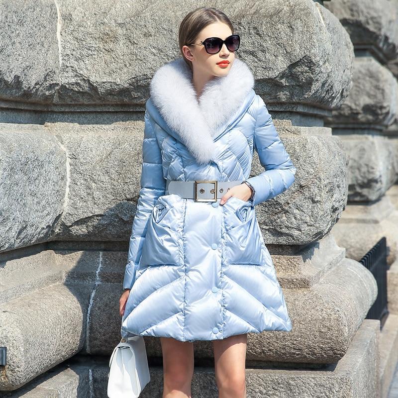 Offre spéciale un jeu 2018 nouvelle robe d'hiver marée fourrure de renard veste, longue mince épaississement
