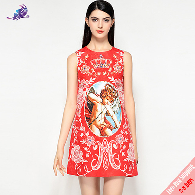 567e1ba88b Free Express Fashion Runway Summer Dress Women's Sleeveless Luxury Crystal  Beading Vintage Angel Crown Floral Print Red Dress
