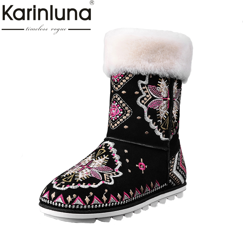 KARINLUNA Warm Fur Lambswool Ethnic Style Embroidery Cow Suede Leather Snow Boots Women Winter Shoes Woman Mid Calf Boots