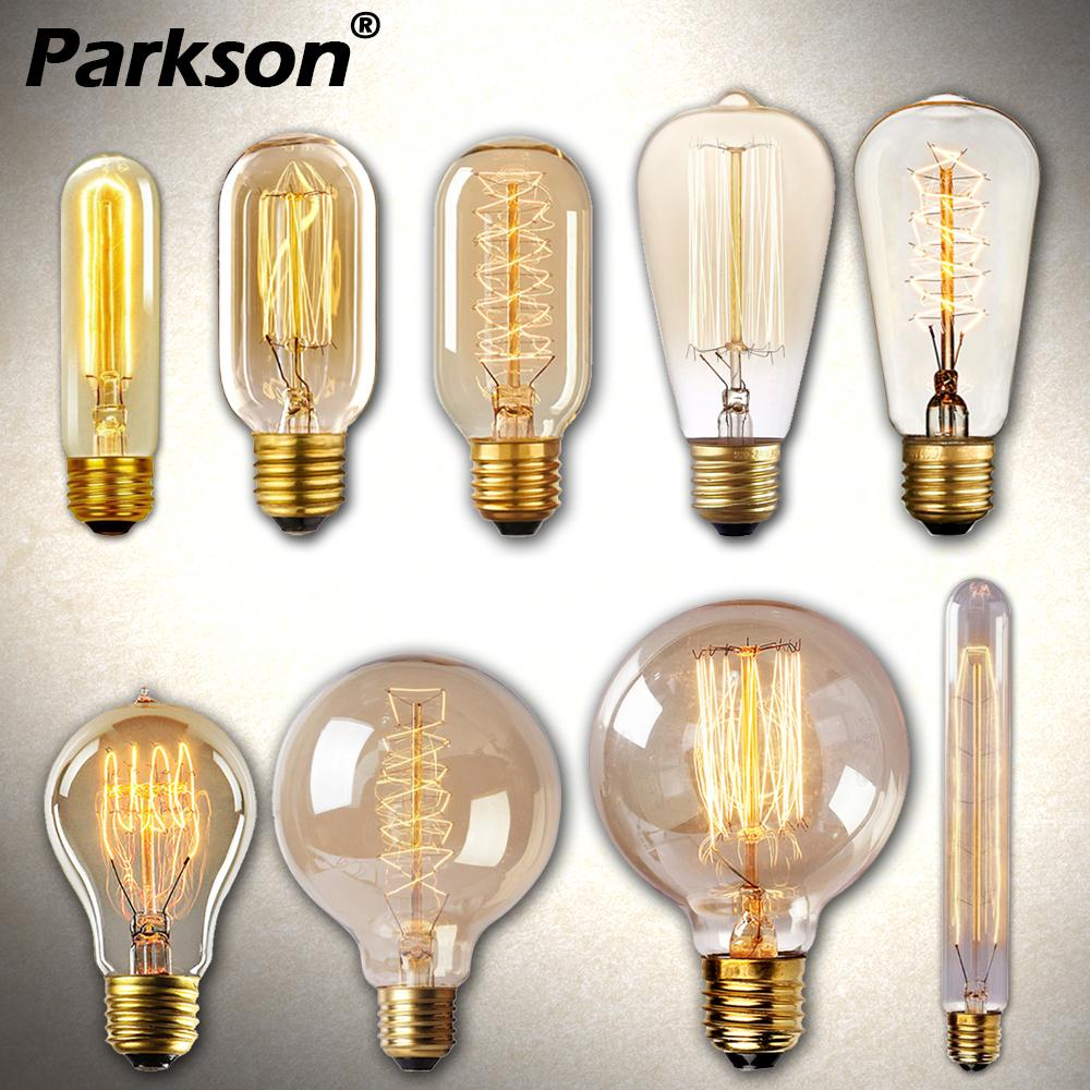Retro Edison LIght Bulb E27 40W 220V ST64 G80 G95 T10 T45 T185 A19 A60 Ampoule Vintage Edison Lamp Filament Incandescent Bulb