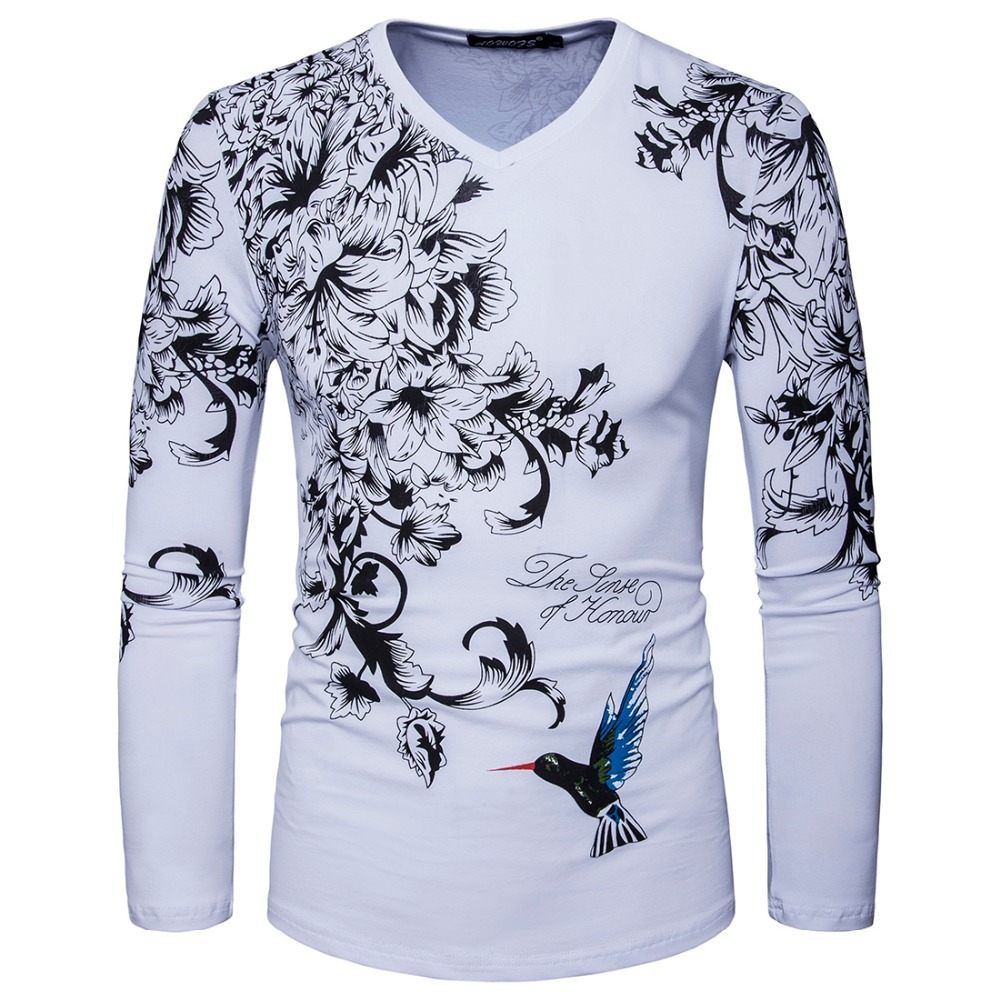 Design t shirt and print - 2017 New Arrived Men Long Sleeve V Neck Print Flower Designer Casual T Shirt Fashion White