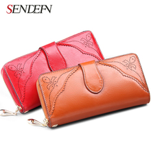 Vintage Leather Women Wallet Long Coin Pocket Purse Phone Wallet Female Card Holder European and American style