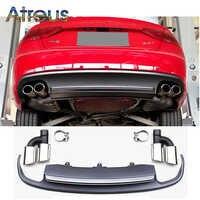Atreus 1 Satz A5, S5 Grau PP Heckstoßstange Diffusor spoiler Mit Auto Auspuffrohre Für Audi A5 2/4-tür Zubehör 2012-2015