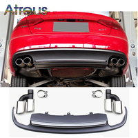 Atreus 1Set A5 To S5 Grey PP Rear Bumper Diffuser spoiler With Car Exhaust PIpes For Audi A5 2/4 door Accessories 2012 2015