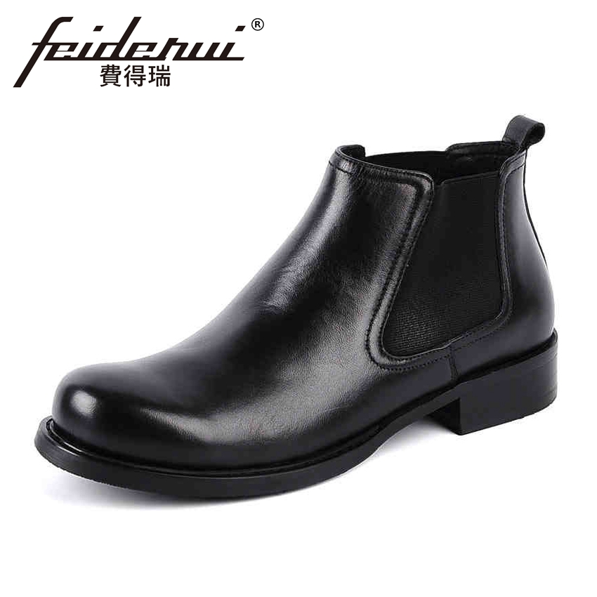 New Arrival Genuine Leather Men's Chelsea Ankle Boots Classic Round Toe Platform Handmade Cowboy Martin Shoes For Man YMX65 krusdan luxury brand platform man handmad outdoor ankle boots genuine leather round toe classic men s cowboy martin shoes