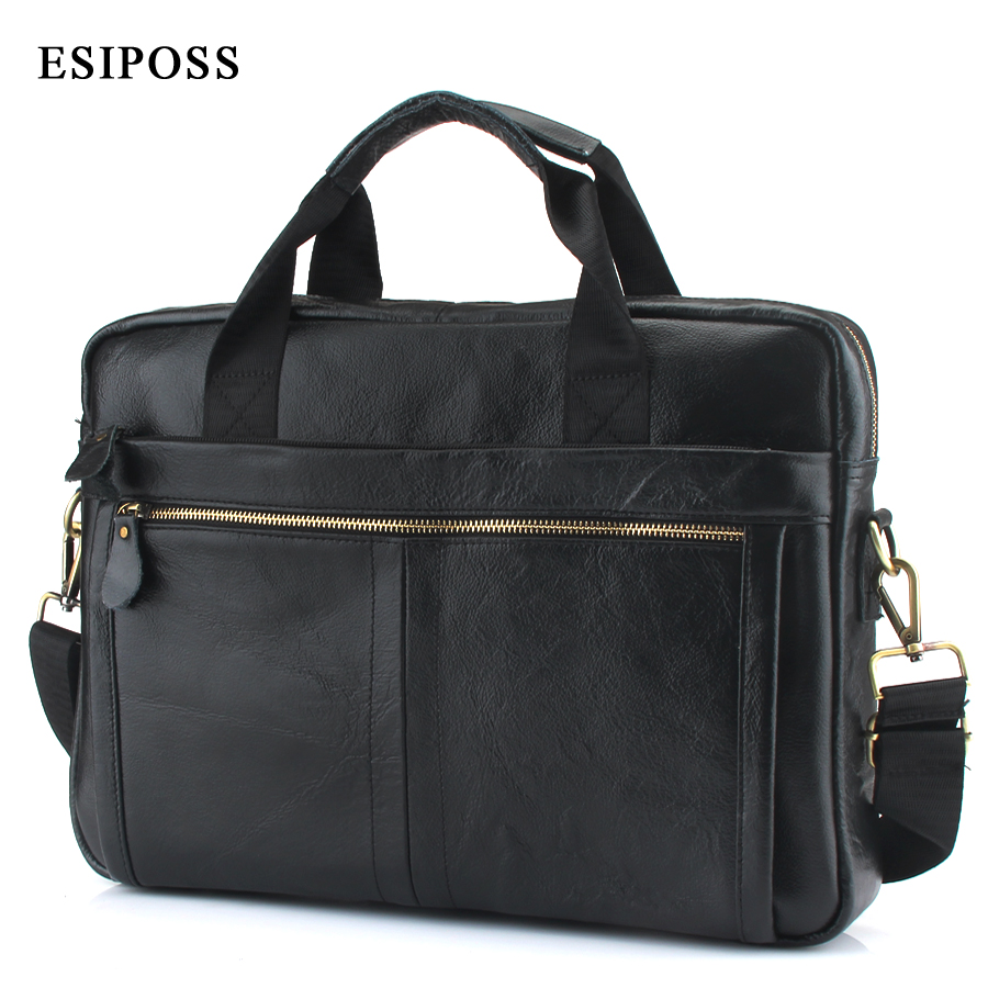 ESIPOSS New men's Genuine leather briefcase men's fashion shoulder bag large-capacity handbag leisure travel bag computer bag smiths consumer products jiff s jiffy knife