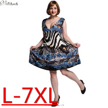2017 New Women Summer Boho Dress Ladies Vestidos Largos Robe Femme Print Beach Dress Plus Size 6XL 7XL Bohemian Maxi Dresses