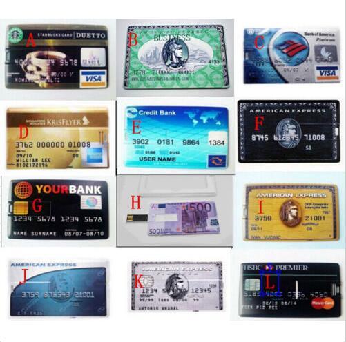 2018 Hot! Credit Card Model Flash Drive USB 2.0 4GB 8GB 16GB 32GB 64GB 128GB Bank Card Storage Memory Stick