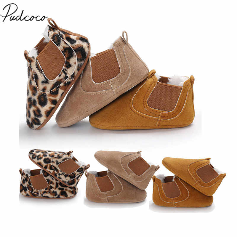 2018 Brand New Toddler Newborn Baby Boy Girl Leather Soft Sole Crib Shoes Sneakers Prewalker Leopard Solid Warm First Walkers