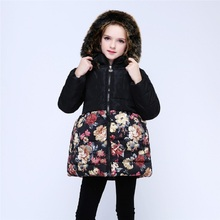 Floral Hooded Girls Down Jacket Fleece Children Outerwear Long Winter Warmer Clothes Thick Girl Coats Outfits Fashion Overcoat