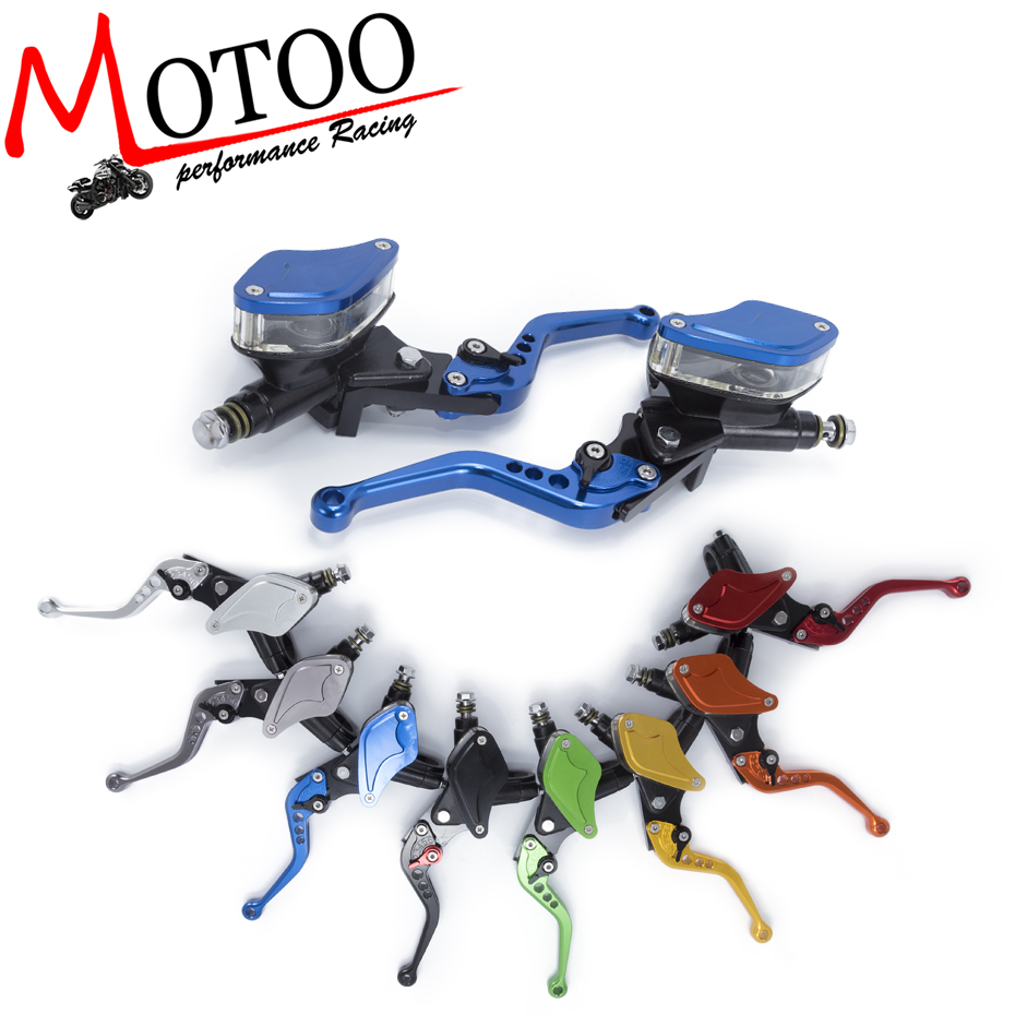 Motoo - CNC Universal Motorcycle Master Cylinder Reservoir Hydraulic Brake Clutch Lever A Pair 8 Colors For Kawasaki 50CC-300CC 1 pair 7 8 universal motorcycle hydraulic brake master cylinder clutch lever reservoir for kawasaki suzuki honda ducati blue