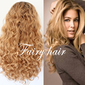 Fashion Honey Blonde Loose Curly Synthetic Lace Front Wig Heat Resistant Two Tone Glueless Ombre Hair Synthetic Lace Front Wig
