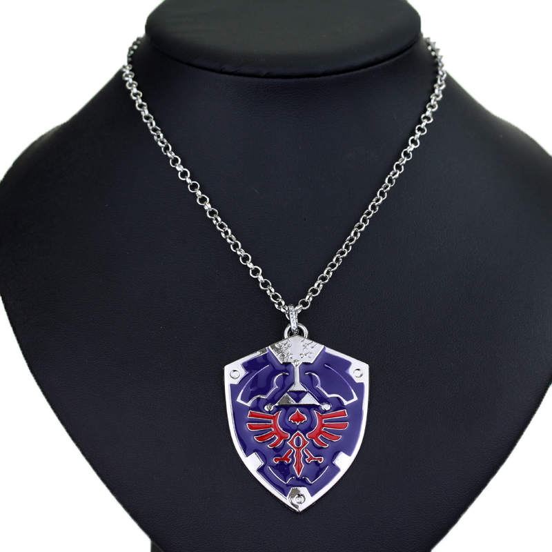 The Legend of Zelda Necklace Blue Hylian Shield Metal Maxi Pendant Necklaces