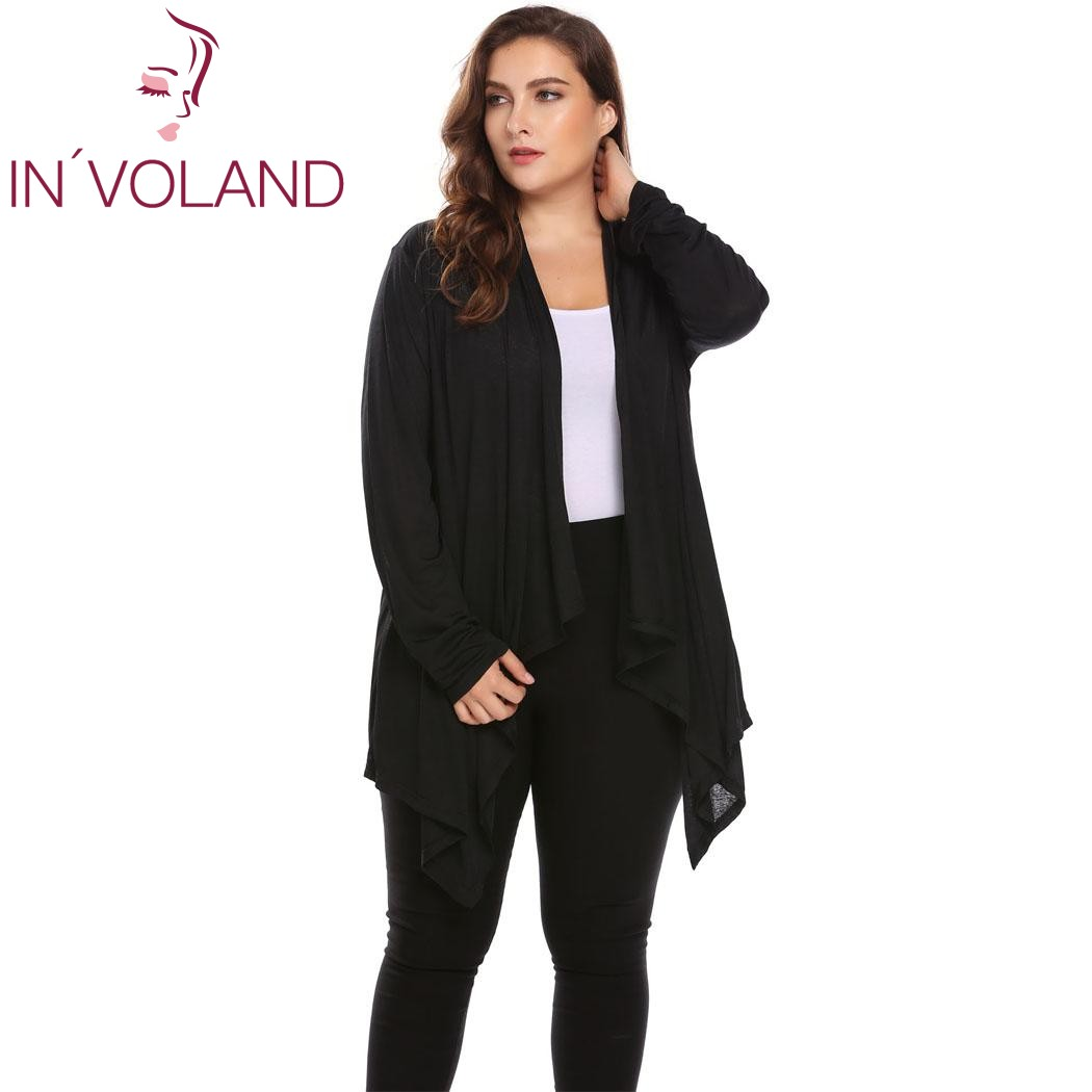 IN'VOLAND Large Size Women Cardigan Jacket L-4XL Autumn Casual Long Sleeve Asymmetrical Solid Open Front Big Tops Coat Plus Size