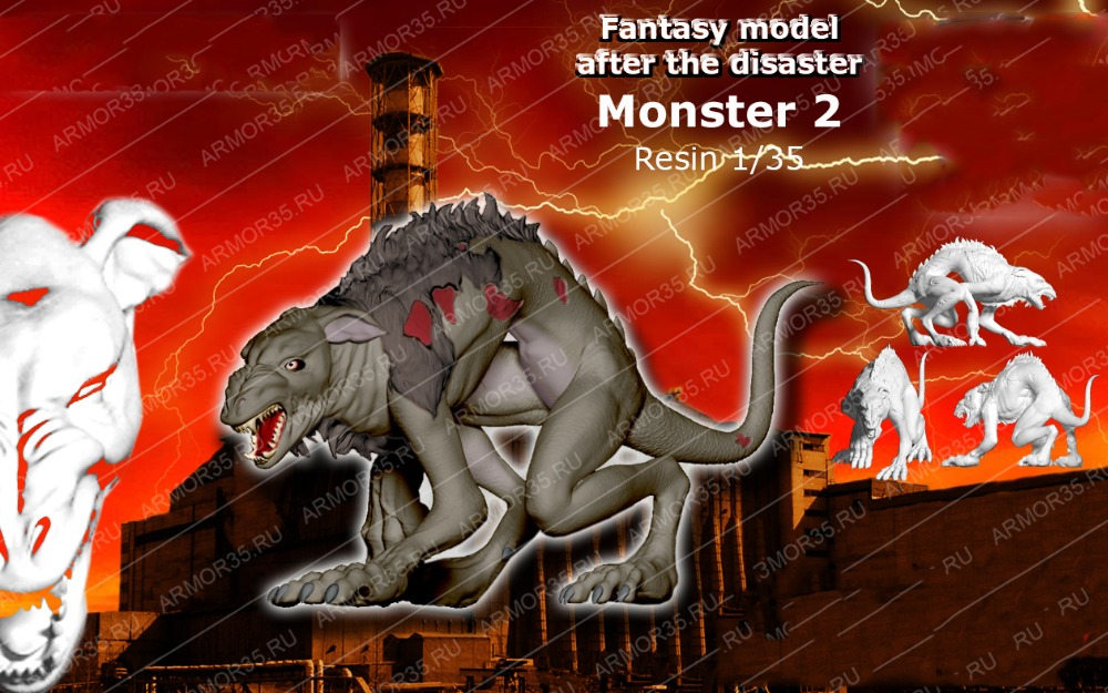 1/35 After The Disaster Monster Gizamon Include One Animal    Toy Resin Model Miniature Kit Unassembly Unpainted