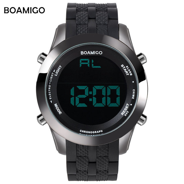 men sports watches military outdoor digital watches hot rubber strap LED display clock BOAMIGO brand 30M waterproof wistwatches