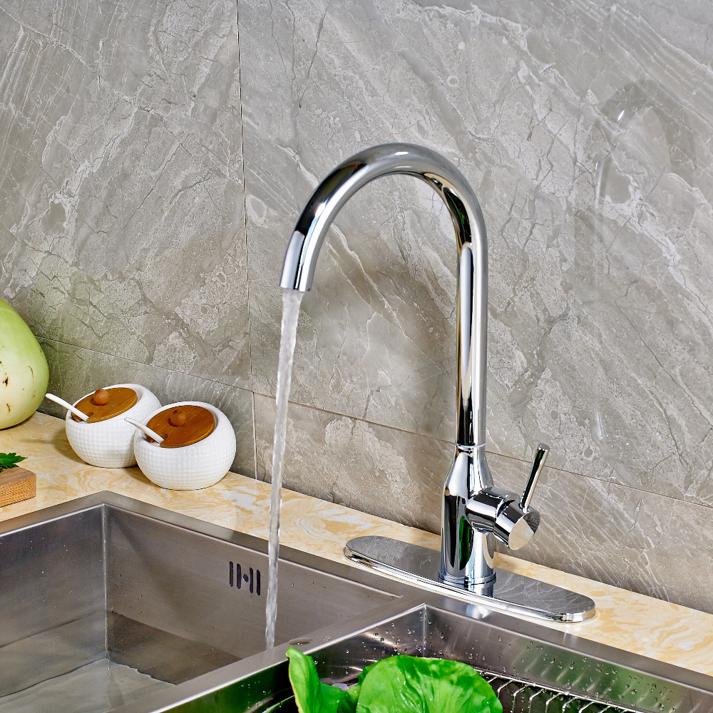 ФОТО Solid Brass Round Cover Swivel Mixer Polish Chrome Kitchen Faucet Mixer Tap Single Handle Single Hole Deck Mounted