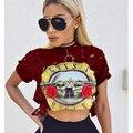 Buraco Sexy T-Shirt Das Mulheres 2017 Novo GUNS N ROSES Topo Colheita Impressão Camiseta Cropped Tops Oco Out Manga Curta Tee Shirt Fêmea P35