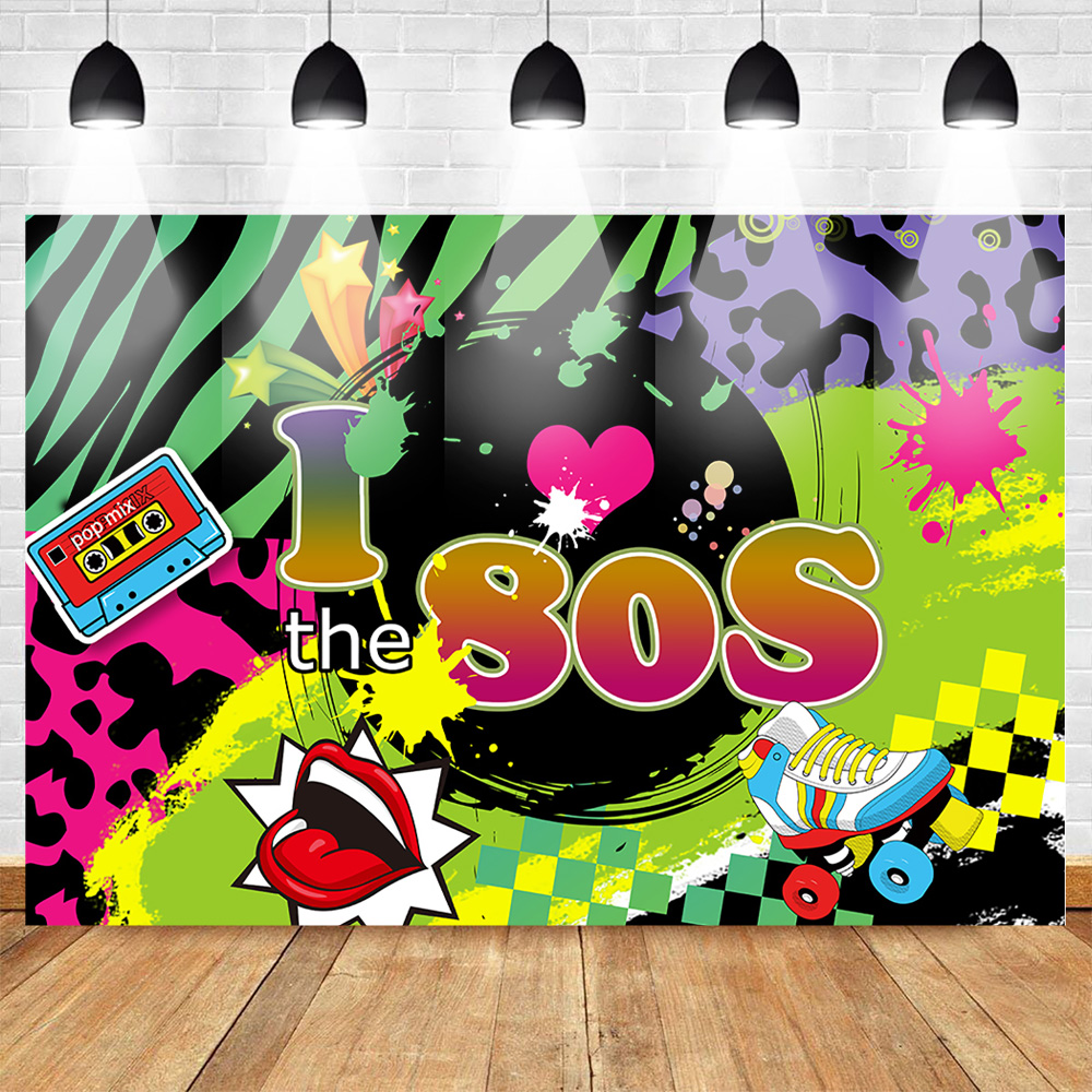 US $9 46 43% OFF|Mehofoto 80s Theme Photography Backdrops Birthday Back to  80s Party Poster Background Graffiti Roller Skates Hip Hop Photophone-in