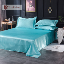 Liv-Esthete 2019 Hot Sale Wholesale Luxury 100% Satin Silk Light Blue 1PCS Flat Sheet Silky Queen King Bed Sheets For Women Men