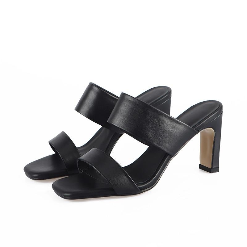 Pumpen Snadals Beige Frauen Schaffell Aus Partei Frau Dame Echtem schwarzes Qualität Schuhe Maultiere Top Heels Sommer Bonjomarisa High Leder 4cnxZTWTp