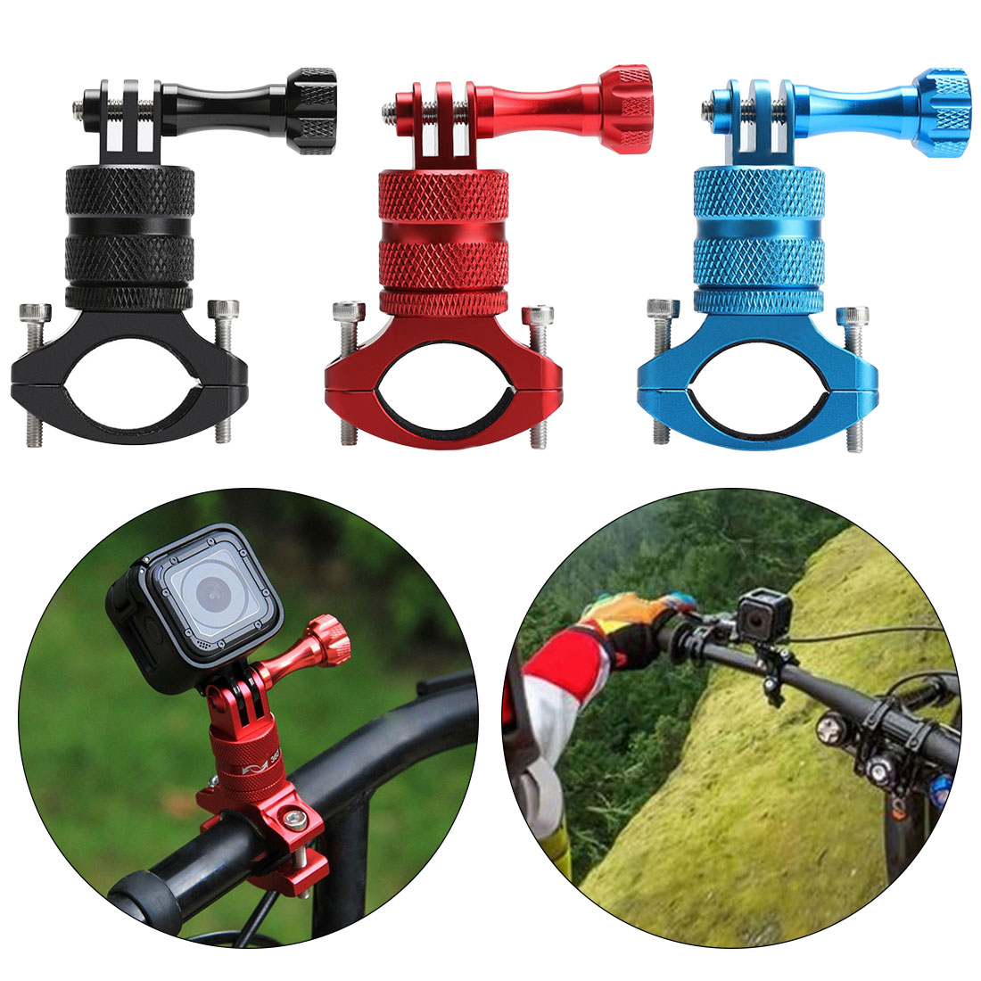 For Sport Camera Accessories 360 Degree Rotation Mount Aluminum Alloy Handlebar With Screw Bicycle Adapter Bike Cameraholder