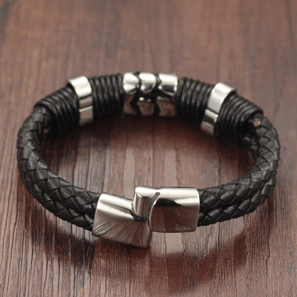 Aliexpress Trustylan Cool Black Genuine Leather Bracelet Men Fashion Jewelry Vintage Mens Bangles Armband S Wrap From