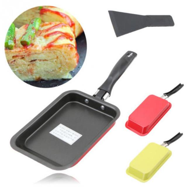 rectangular japanese style non stick frying pan burning cake roll