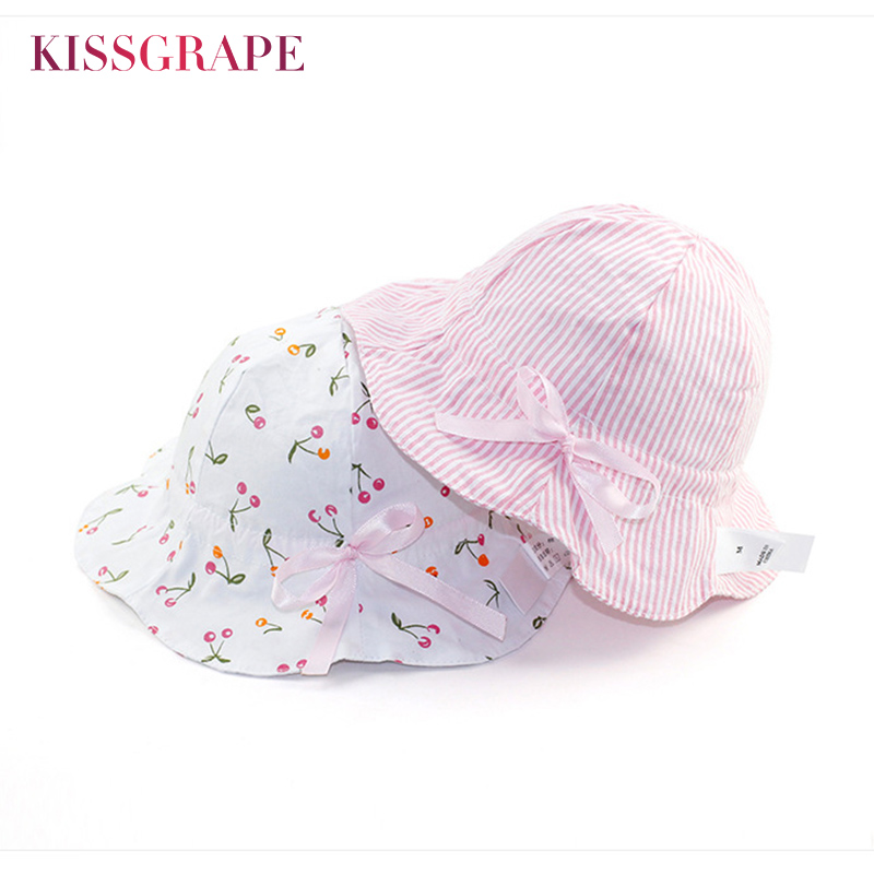 New Baby Girls Sweet Sun Hats Summer Breathable Cotton Butck Hats with Wide Brim Sunscre ...