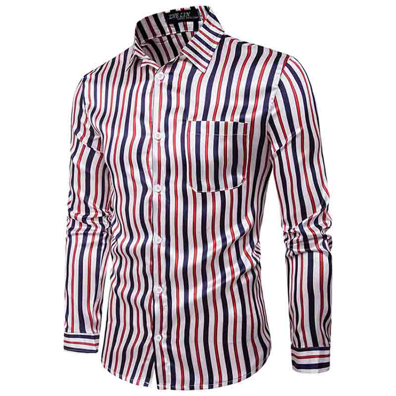 Men's Shirts Night Club Shirt Type Personal Bright Face Vertical Stripe Hundred Sets Men's Leisure Collar Long Sleeve Shirts