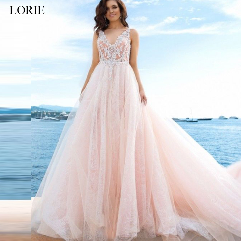 LORIE Crystal Beading A Line Wedding Dresses 2019 New V