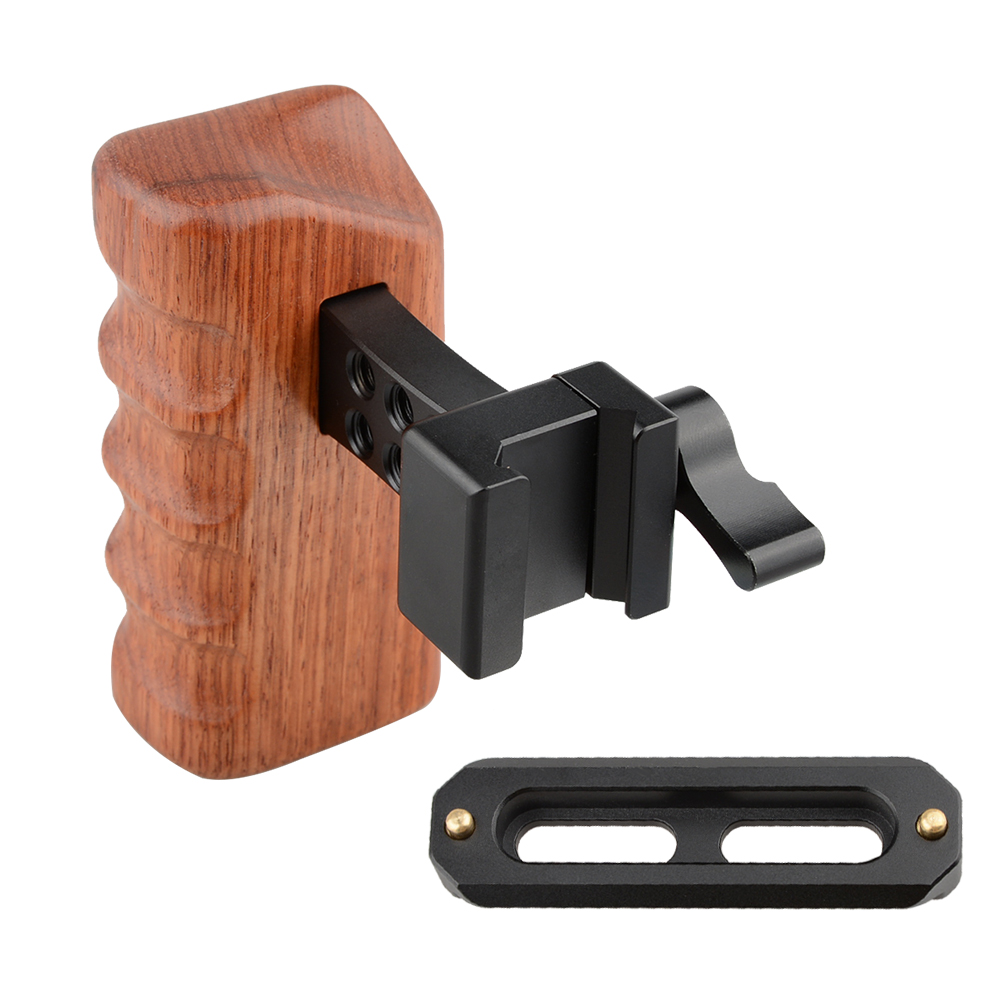 CAMVATE DSLR Wood Wooden Handle Grip (Right Hand) with Nato Rail Clamp & Safety Rail (70mm) C1535CAMVATE DSLR Wood Wooden Handle Grip (Right Hand) with Nato Rail Clamp & Safety Rail (70mm) C1535