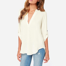 Summer Style womens chiffon blouse ladies White elegant sexy v-neck blouses 3/4 sleeve shirt female office shirt plus size 2018