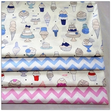 Ice cream printed cotton gauze series, used for stitching fat cloth, 1/4 sewing bag, 4 units/batch 40 cm * 50