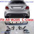 w205 exhaust pipes C200 C180 C220 C63 AMG Stainless Steel night packages Tips Diffuser for Merc M-B  W205 C63 Standard Bumper