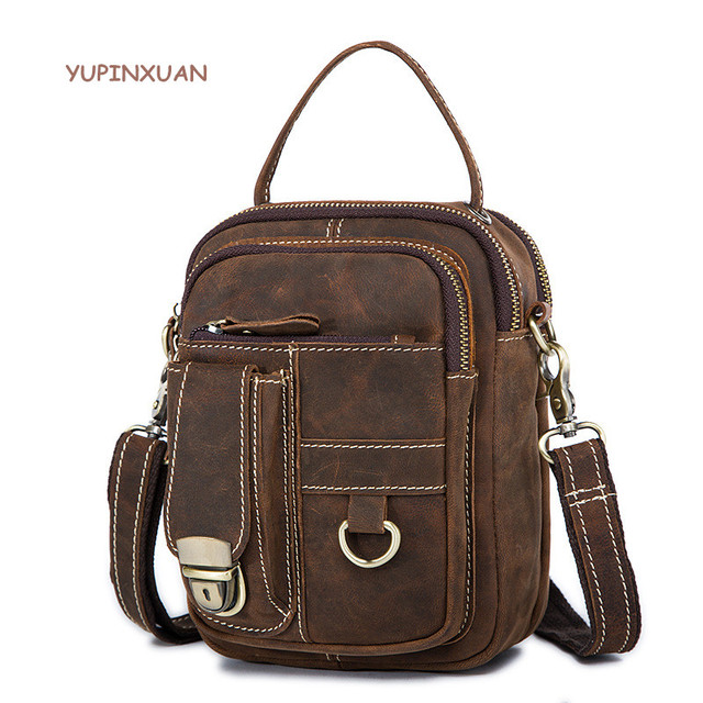 1914bc702291 YUPINXUAN Europe Vintage Vintage Cow Leather Shoulder Bags for Men Small Crazy  Horse Leather Crossbody Bag Retro Male Handbags