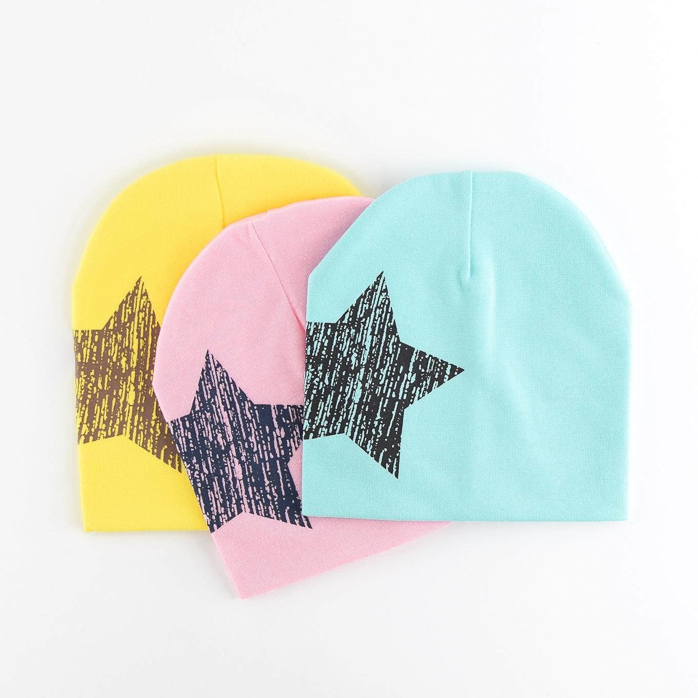 Звезда моды дети рукав Кепки для маленьких мальчиков девочек Hat Дети вязать Кепки хлопка дети шляпа новорожденного вводной Одежда для малыш...