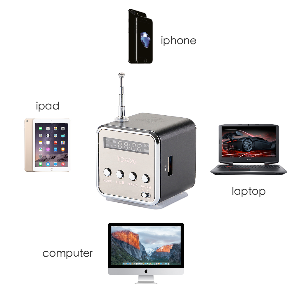 Vapeonly TD-V26 Mini altavoz portátil MP3 reproductor de música con soporte LCD FM Radio Micro SD TF altavoz estéreo para el ordenador portátil teléfono