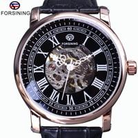 Forsining Retro Series Roman Skeleton Display Black Dial Mechanical Clock Rose Golden Case Mens Automatic Watch