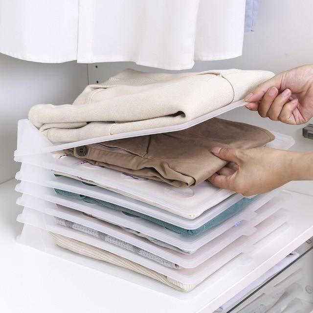 5pcs/lot Shirts T-shirts Clothes Wardrobe Organizer Plastic Closet Drawer Organizer Cabinet Folding Board Storage Rack